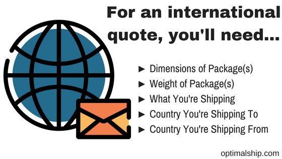 For an international quote, you'll need...